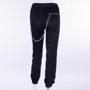 Image 3 - Vangull harajuku zipper streetwear women casual harem pants with chain New solid black pant cool fashion hip hop long trousers