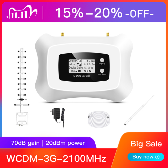Specially for Russia!3G Repeater 2100Mhz 3G Cellular amplifier with Yagi 3g cellular signal booster kit