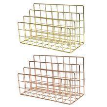 Grid 3 Compartments Bookshelf Magazine File Organizer Holder Wrought Iron Rack X6HB