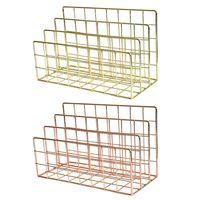 Grid 3 Compartments Bookshelf Magazine File Organizer Holder Wrought Iron Rack