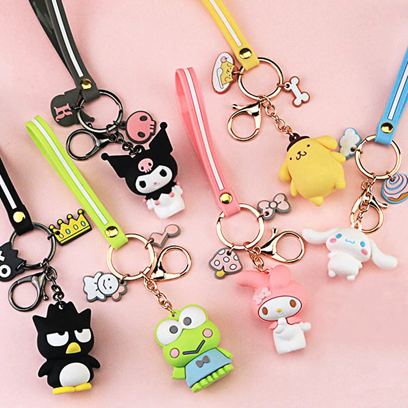 Cartoon Pom Pom Purin Keychain PVC Key Chain Bad Badtz Maru Cinnamoroll Kuromi Cute Funny Novelty Personalized Pendant Jewelry