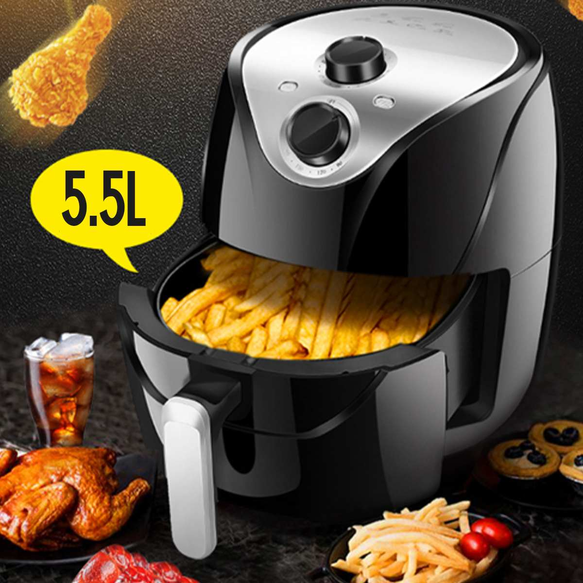 Friteuse à Air friteuse électrique 1500W 220V 5.5L 360 ° haute vitesse Circulation d'air chaud multifonction cuisinière four faible en gras santé Pan - 2
