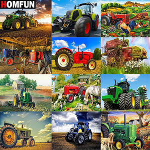HOMFUN Diamond Painting Cross Stitch Tractor car scenery Full Square Round Diy 5d Diamond Embroidery Picture Rhinestone Art