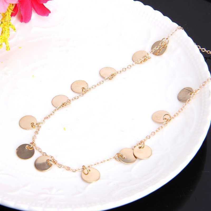 Tối Giản Đời Boho Màu Vàng Đồng Phối Đầm Choker Đĩa Dây Chuyền Mỏng Vòng Đeo Cổ Cho Nữ