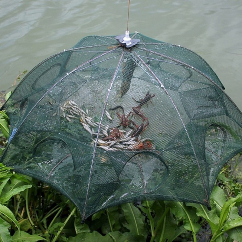Durable Folding Bait Fish Trap Crab Lobster Shrimp River Pond Cast Dip Cage Fishing Accessories