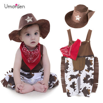 Umorden Cowboy Cow Boy Costume Rompers for Baby Boys Toddler Infant Halloween Christmas Birthday Party Cosplay Fancy Dress infant toddlers baby boys girls raccoon cosplay costume for halloween christmas purim holiday dress up party