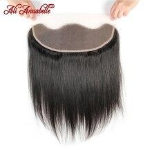 ALI ANNABELLE прямые кружевные фронтальные закрывающие средние коричневые кружевные фронтальные бразильские человеческие волосы 13x4 от уха до уха кружевные фронтальные