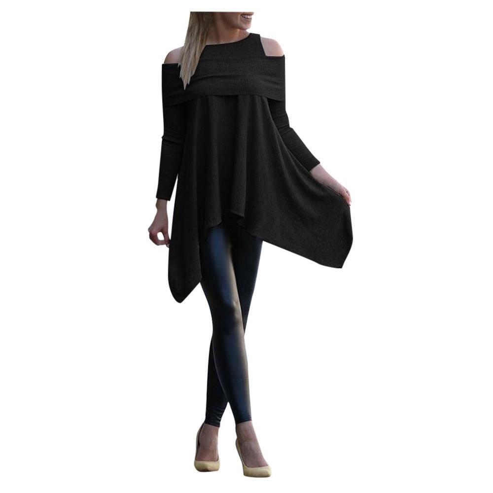 winter Womens blouse Solid Long Sleeve Irregular girl Sweatshirt Loose Print Pullover Tops female Blouse(China)