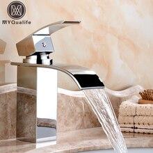 Sprzedaż hurtowa i detaliczna nablatowa wodospad bateria do łazienki Vanity umywalki mikser kranu zimna ciepła woda z