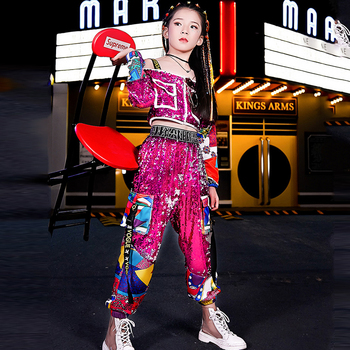 2 Pieces/ Set Girls Jazz Dance Costume Sparkly Hip Hop Clothing Children'S Sequin Strapless Long Sleeve Street Costumes 120-160