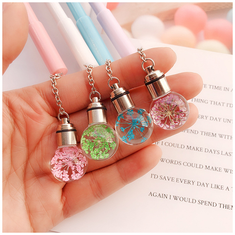 Creative Glowing Light Bulb Gel Pen Cute Flowers Pendant Pen Black Ink Ball Pen Stationery School Supplies