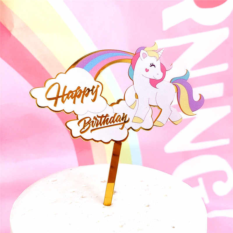 Love Happy Birthday Cake Topper Acrylic Cute Unicorn Gold Cake Top Flag Decoration for Happy Birthday Party Wedding Supplies