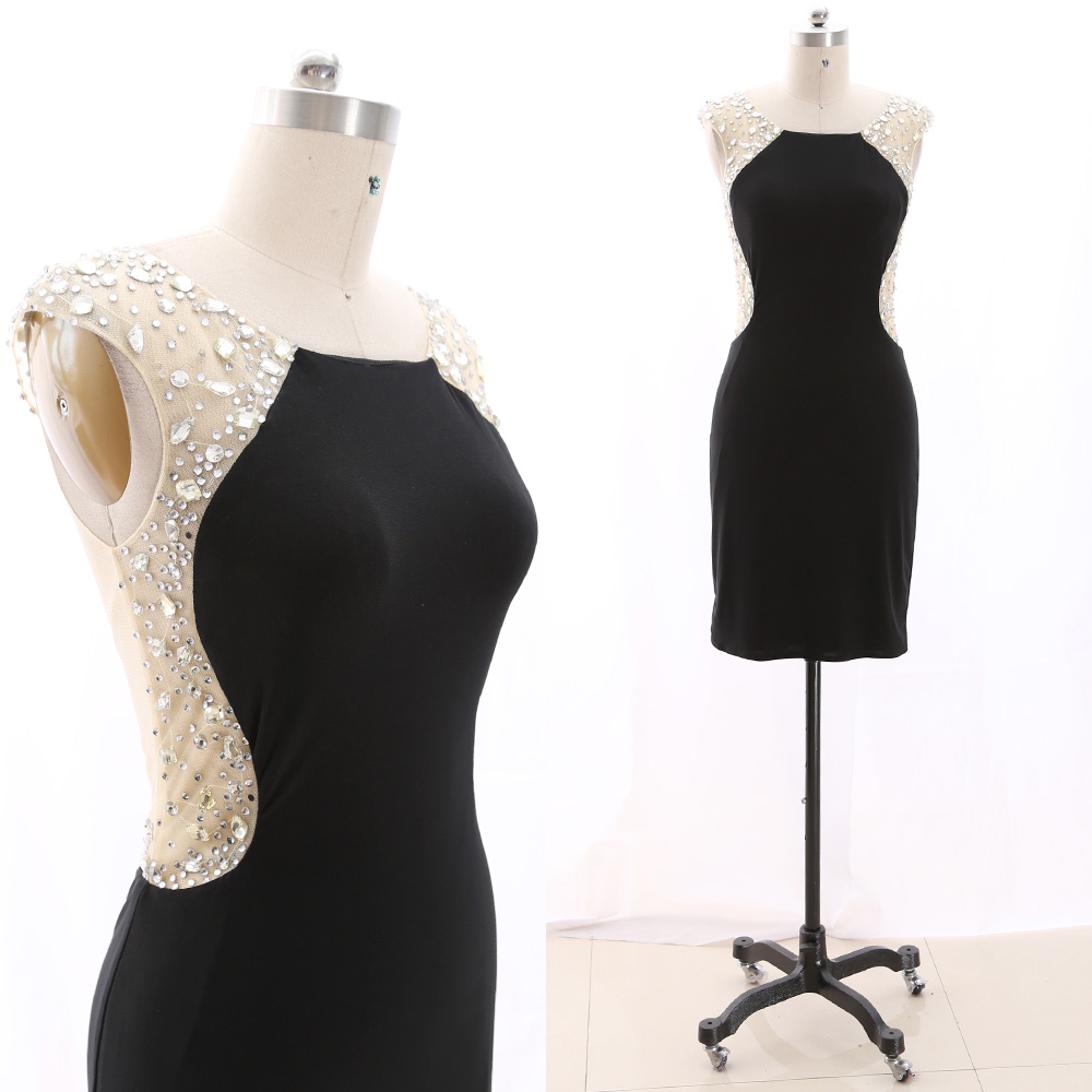 MACloth Black Pencil O Neck Knee-Length Short Crystal Jersey   Prom     Dresses     Dress   M 266783 Clearance