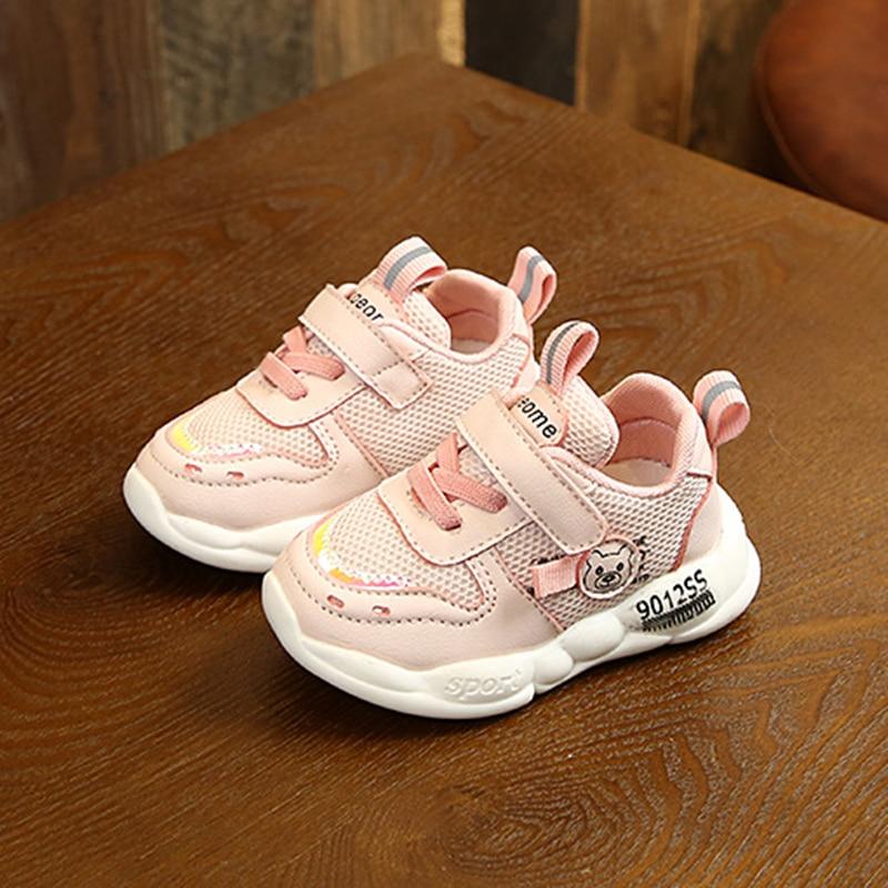 Infant Little Girl Prewalker Shoes Net Surface Breathable Velcro Baby Walking Shoes Newborn Cartoon Pattern Casual Kids Sneakers