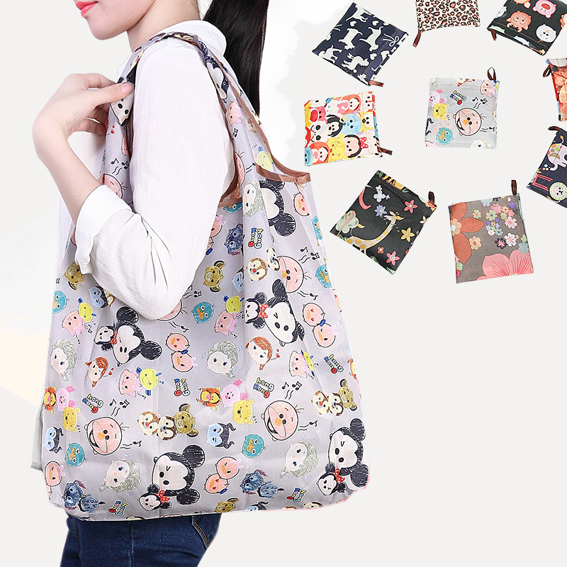Folding Shopping Bag Eco Friendly Ladies Gift Foldable Reusable Tote Bag Portable Travel Shoulder Bag Small Size