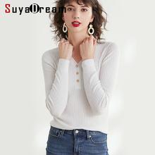 Women Pullover 100%Wool V neck Sweater For Slim Rib Knits Pullovers 2019 Fall Winter Wool Sweaters