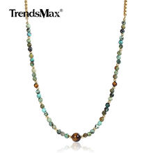 4mm Long Natural Tiger Eye Beaded Box Link Chain For Women Girl Charm Stainless Steel Necklace Beads Yoga Jewelry DN123(Hong Kong,China)