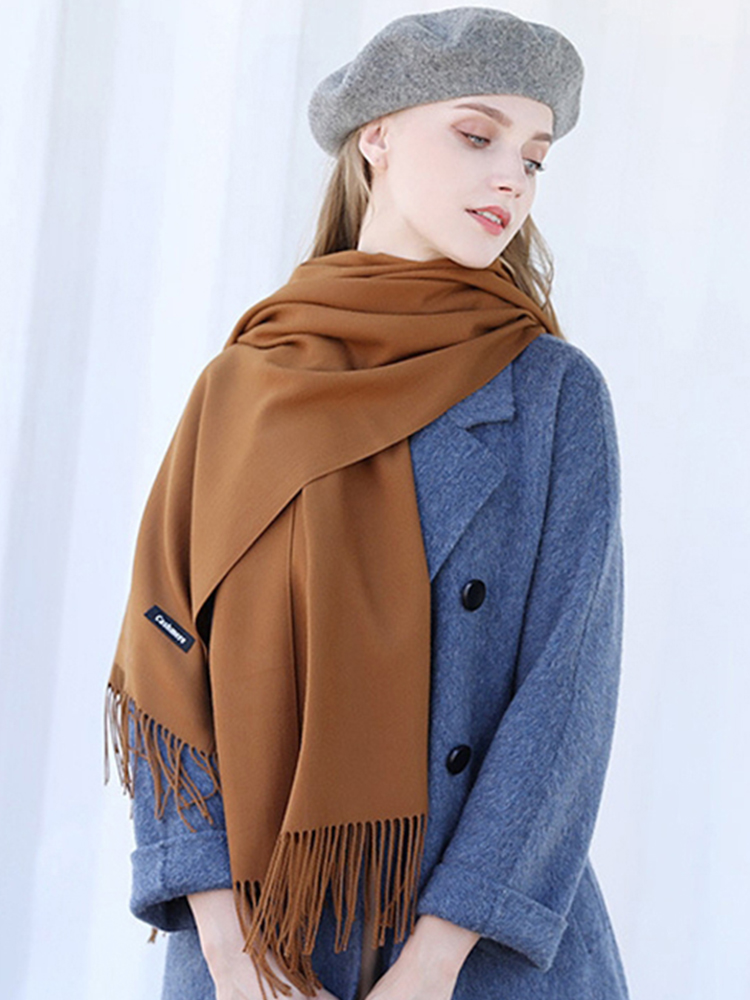Cashmere Women Scarf Wraps Tassel-Bandana Foulard Tippet Solid-Shawl Lady Luxury Brand