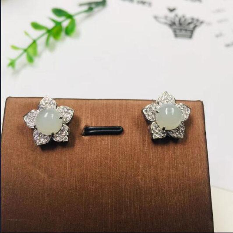 Belle 925 en argent Sterling blanc HeTian Jade fleur forme clou d'oreille boucles d'oreilles fille cadeau de charme bijoux fins