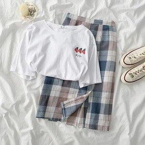 Летний милый комплект с юбкой, Женская белая футболка с короткими рукавами и принтом + юбка трапециевидной формы с высокой талией, комплект ...