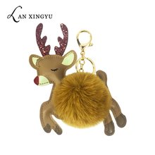 Cute PU faux leather animal Christmas moose ball key chain pendant lady bag car gift.