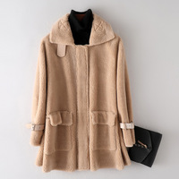 Teddy Coat Real Fur Overcoat Turn Down Collar Pocket Overcoat Winter Long Trench Cashmere Zipper Outerwear Female Plus Size