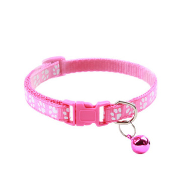 Pet Cat Collar Adjustable Nylon Ribbon Collar Cute Paw Print Cat Bell Collar cats Dog Neck Strap cat Supplies Collar image