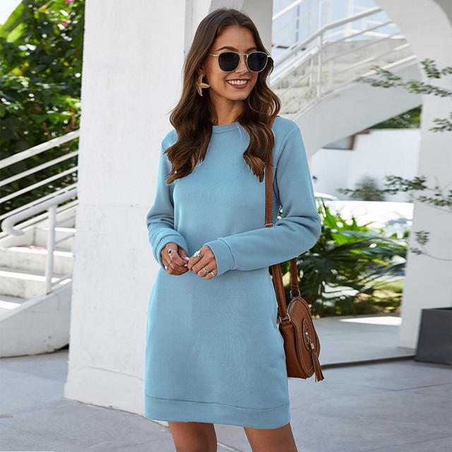sleek style long sleeve short dress 6