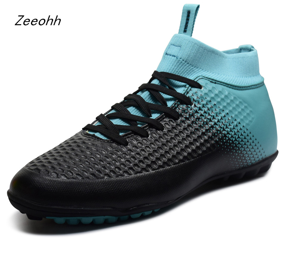 Zeeohh Football Boots Man Cleats Sports Shoes High Top Sneakers Men Indoor Turf Futsal Soccer Chuteira Futebol Plus Size 35-46