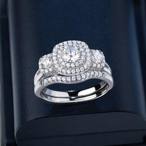 Image 5 - Newsheハロー女性のための 925 スターリングシルバー婚約指輪クラシックジュエリー 1.3 ctラウンドカットaaaキュービッジルコニア