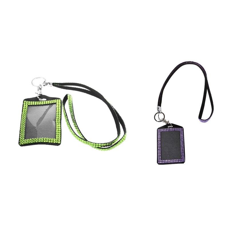 2 Pcs Rhinestone Bling Crystal Custom Lanyard Vertical ID Badge Holder (Light Green & Light Purple)