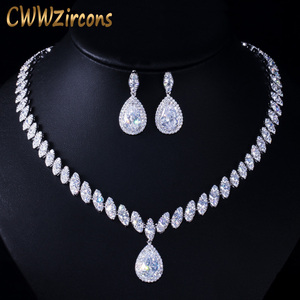 Image 1 - CWWZircons High Quality Cubic Zirconia Wedding Necklace and Earrings Luxury Crystal Bridal Jewelry Sets for Bridesmaids T109