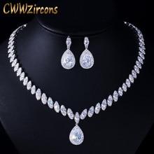 CWWZircons collier et boucles doreilles en zircone cubique, set de bijoux de mariée en cristal de luxe pour demoiselles dhonneur T109