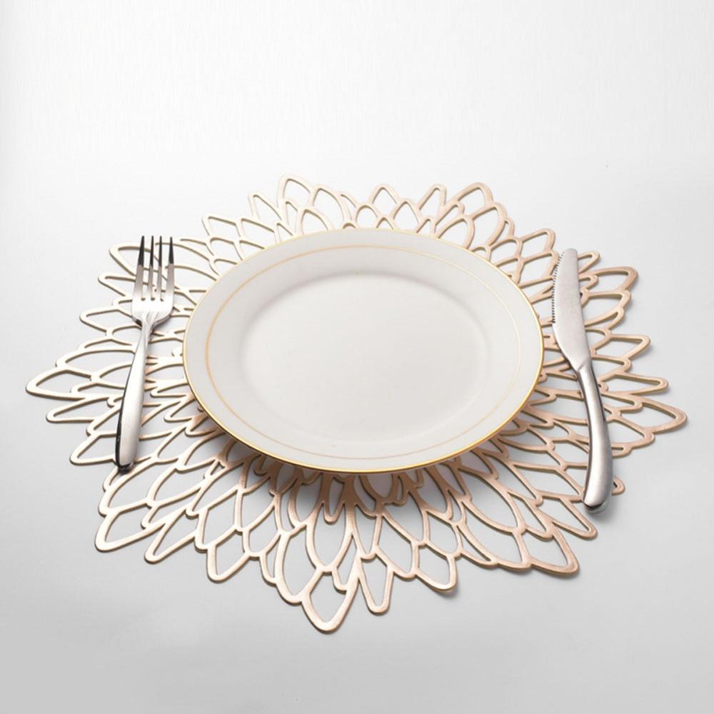 Napperon en PVC 38*38CM pour Table à manger coussin Creux tampons de caboteur tapis de Table en Plastique Creux Pad Rond Baroque argent