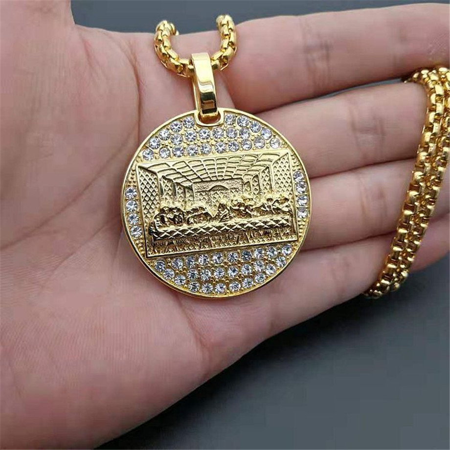 Stainless Steel Last Supper Pendant Gold Color Iced Out Bling Zircon Round Necklace For Men Father's Day Gift Hip Hop Jewelry