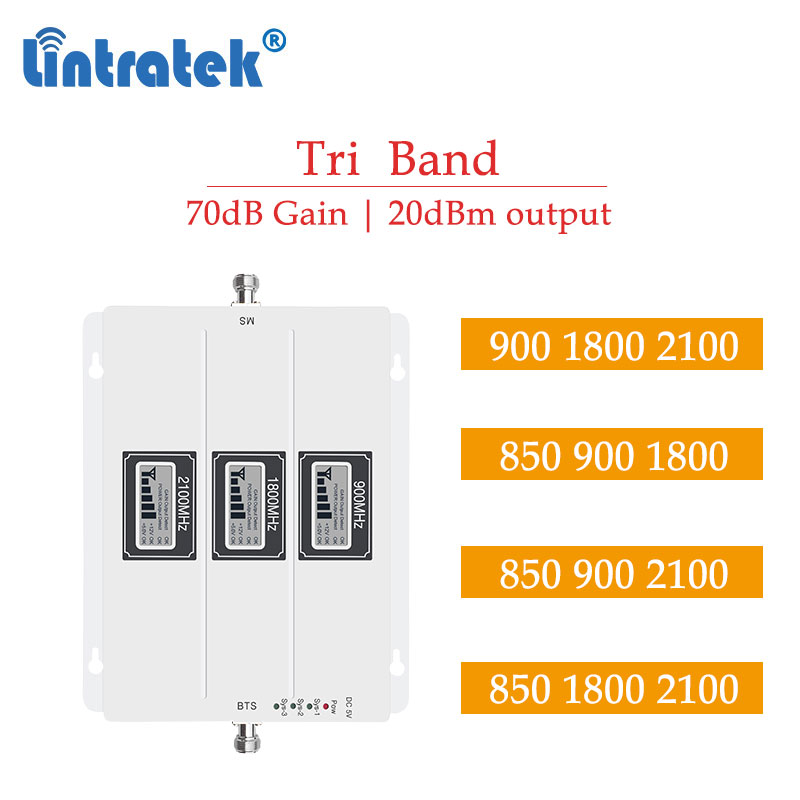 Lintratek 70db 2g 3g 4g Tri Band Signal Repeater Powerful 900 1800 2100 Cdma 850 2G 3G Cell Phone Celluar Booster Amplifier S7
