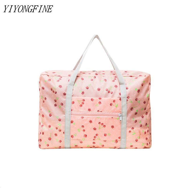 New Nylon Foldable Duffel Bag Travel Organizer Weekend Bags Portable Suitcases And Large Travel Bag Women Pink Tote