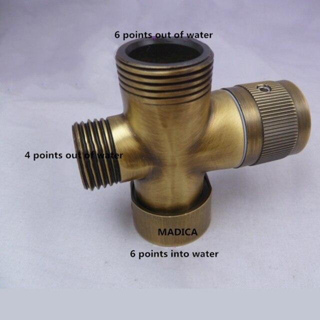 Separador de agua de bronce envejecido, grifo de ducha, válvula de agua de tres vías, separador de agua, boquilla de pulverización, interruptor, convertidor de una o dos juntas