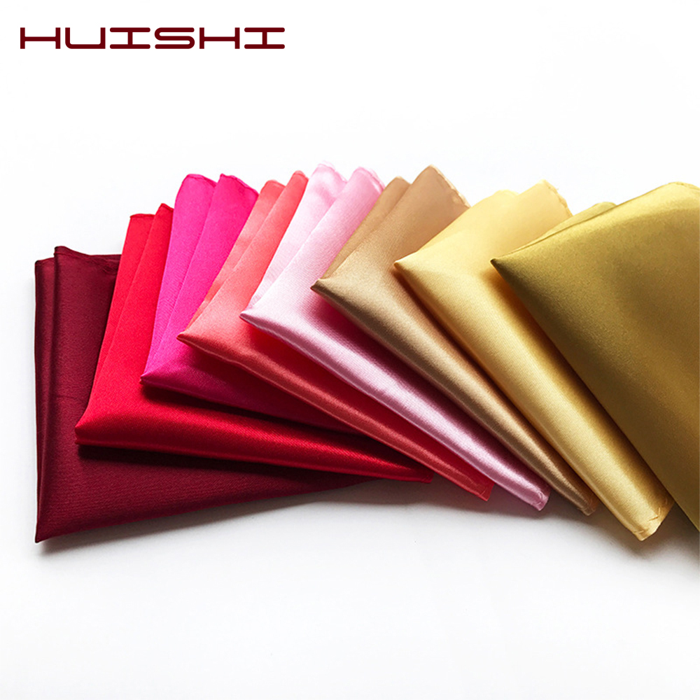 HUISHI Solid Color Vintage Fashion Men Pocket Square Party High Quality Men's Handkerchief Groomsmen Men Hanky Wedding Business