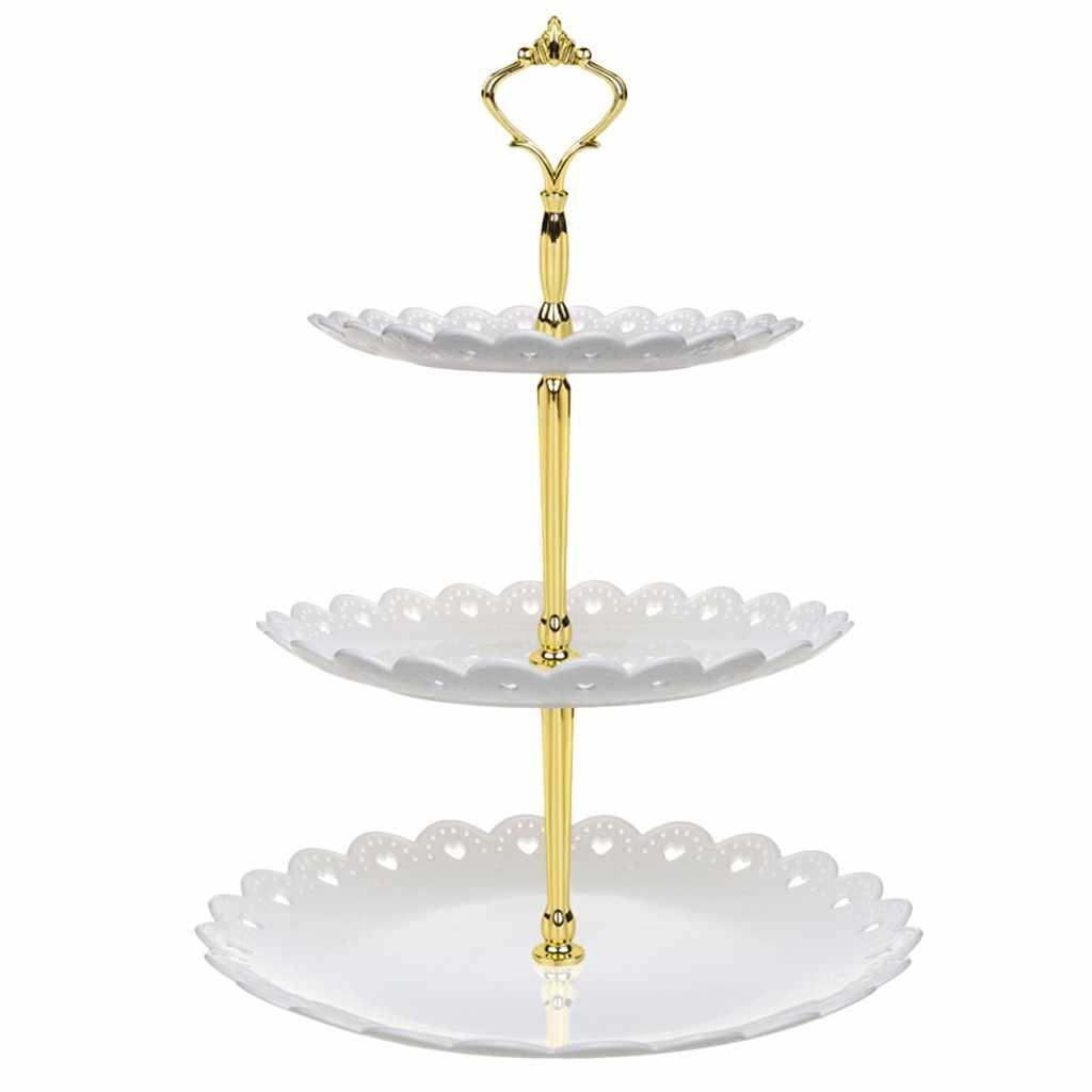 3 Tier ciasto stojak popołudniowa herbata talerze weselne imprezowa zastawa stołowa nowa pieczenia plastikowa taca stojak wystawowy ciasto dekorowanie narzędzia # YL5