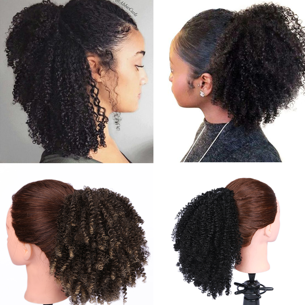 Fave Puff Afro Short Wrap Curly Ponytail Black Brown Ombre Color Synthetic Hair Bun Chignon Rubber Band For Black Women