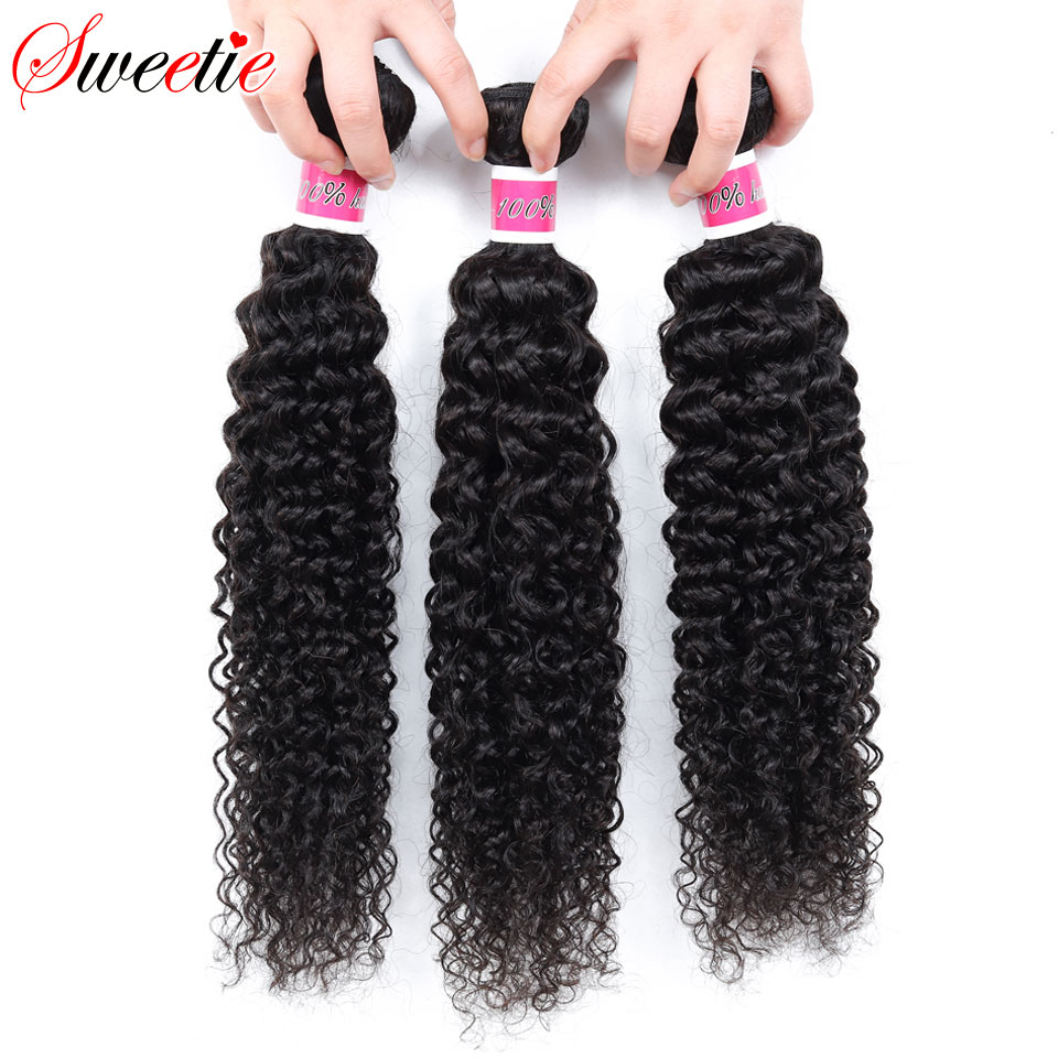Sweetie Indian Hair Afro Kinky Curly Hair Extensions 100% Human Hair Weave Bundles Natural Color 3/4 Pieces 100G Non-Remy