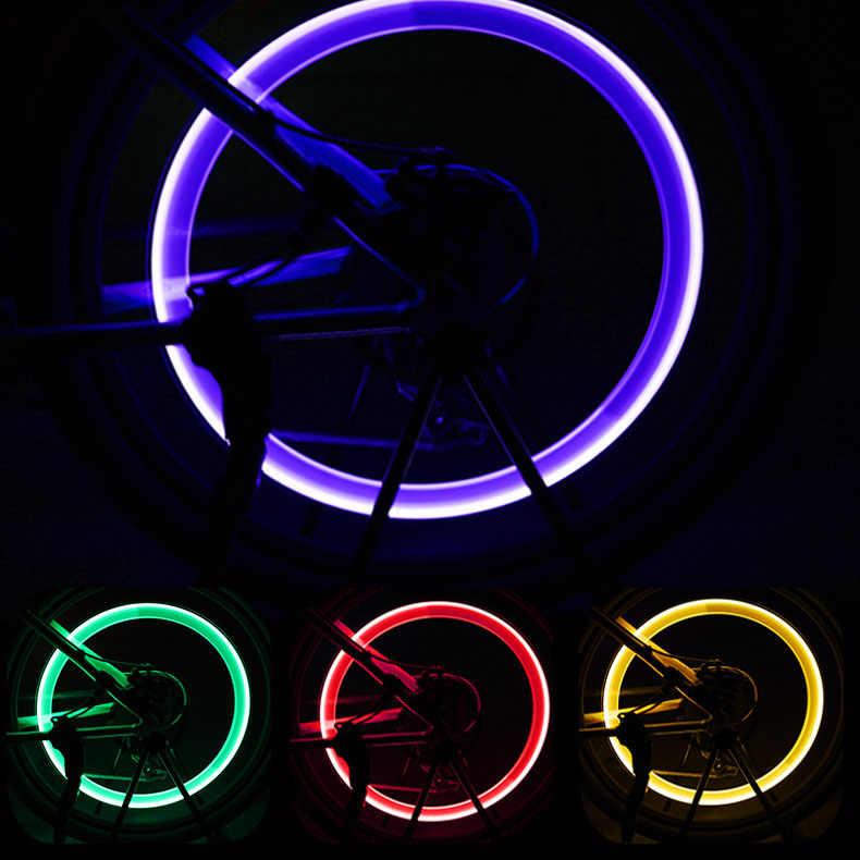 אופניים שסתום אורות גלגל חישורים צמיג LED אור עם סוללות צמיג צמיג שסתום כובעי רכיבה על אופניים פנס מנורת MTB אופני אביזרים