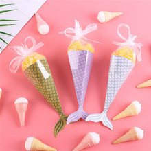 50PCS DIY Mermaid Gift Bags Little Goldfish Party Supplies Kids Birthday Gifts Wedding Favor Bag Candy Box Baby Shower gift box(China)