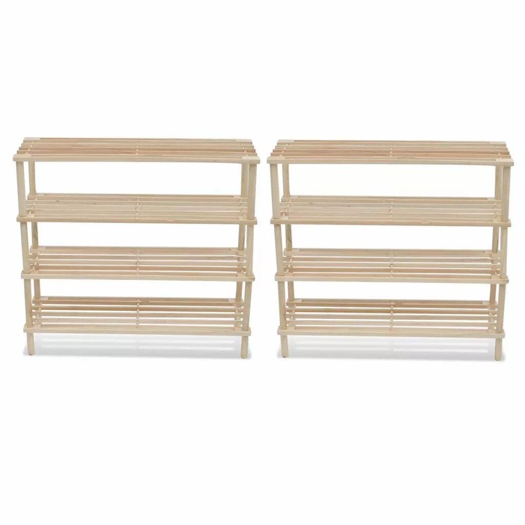 Wooden Shoe Rack 4-tier Shelf Storage 2pcs 241066