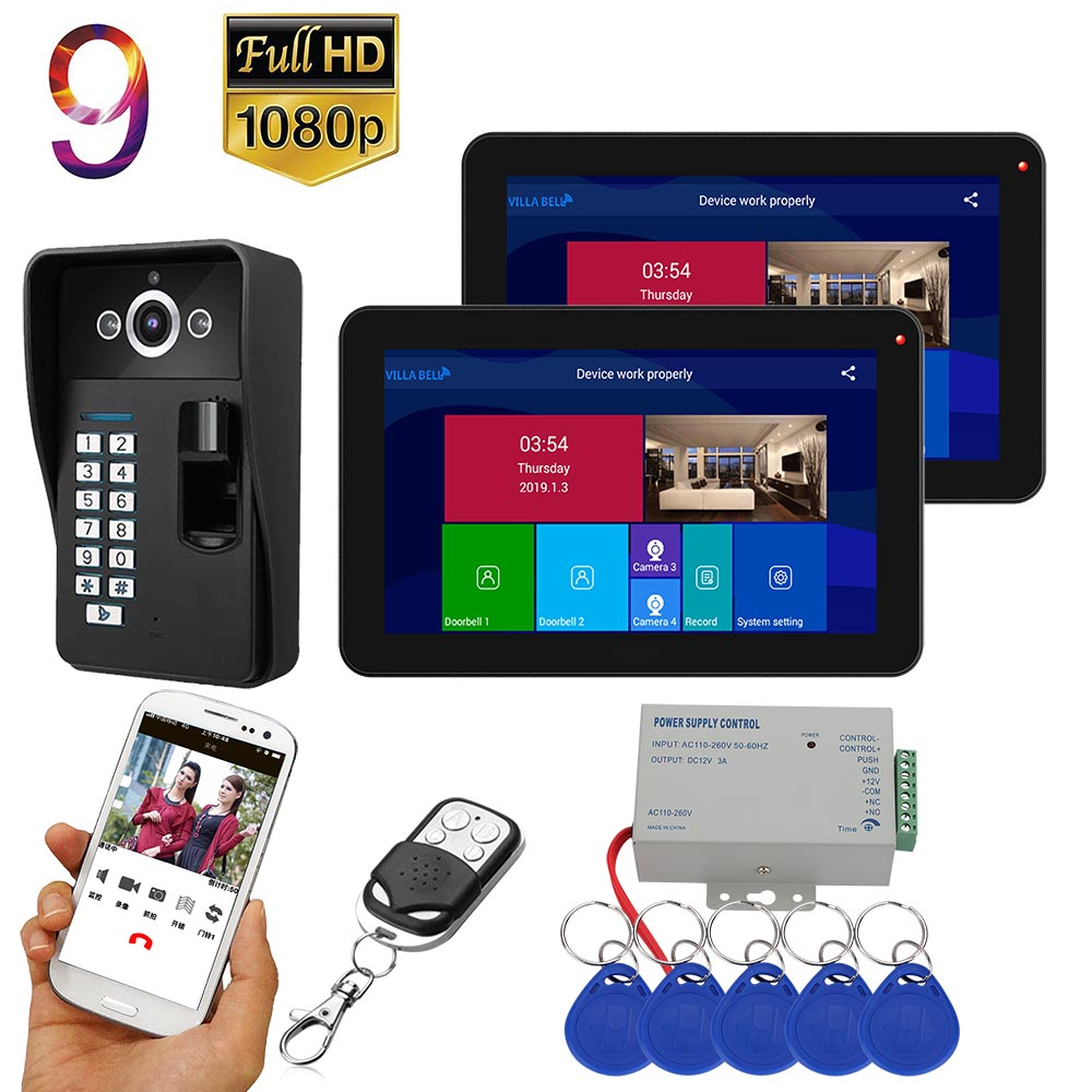 9 Inch  2 Monitors  Wifi Wireless Fingerprint RFID  Video Door Phone Doorbell Intercom System With Wired  1080P   Camera
