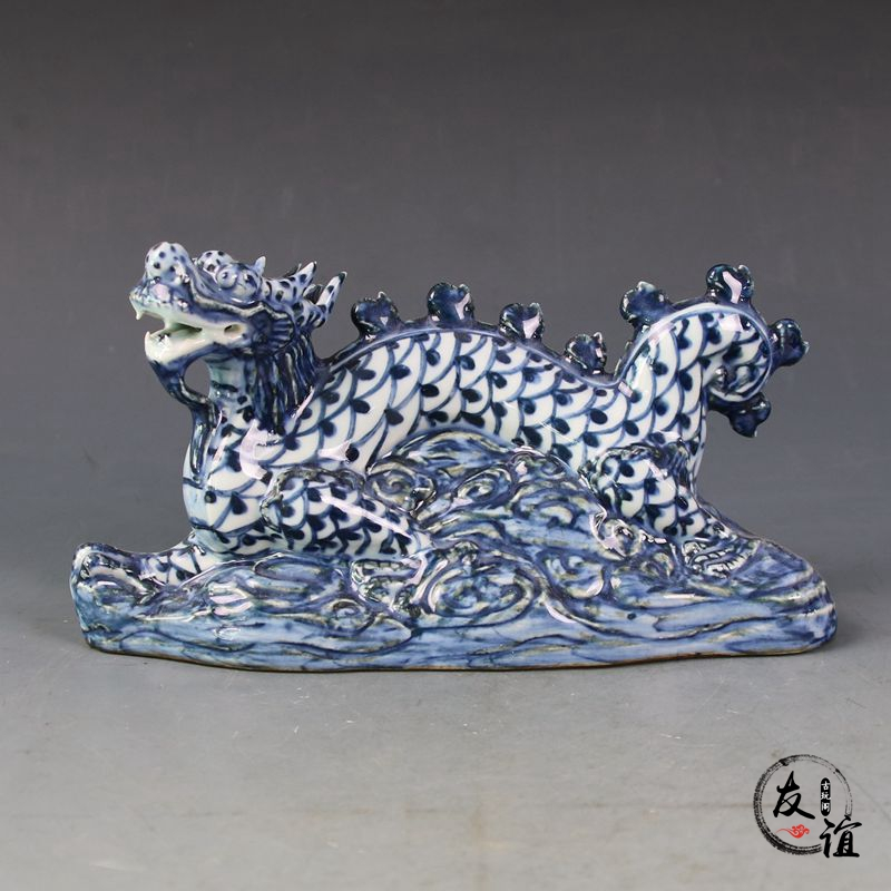 Jingdezhen-porte-stylo dragon bleu-blanc | collection de décoration en porcelaine