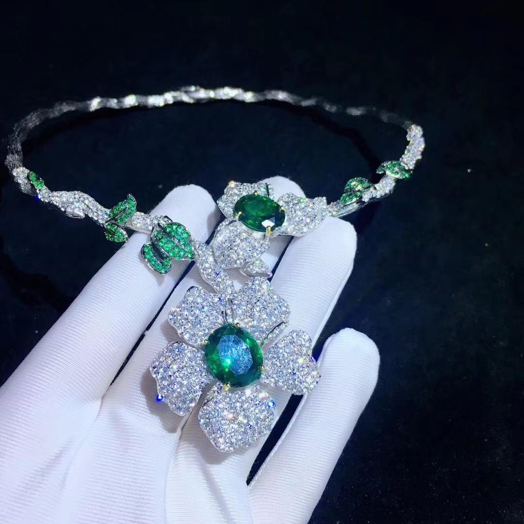 Nouveau style fleur collier couples 925 en argent sterling avec zircon cubique mode femmes bijoux pour fête et mariage livraison gratuite