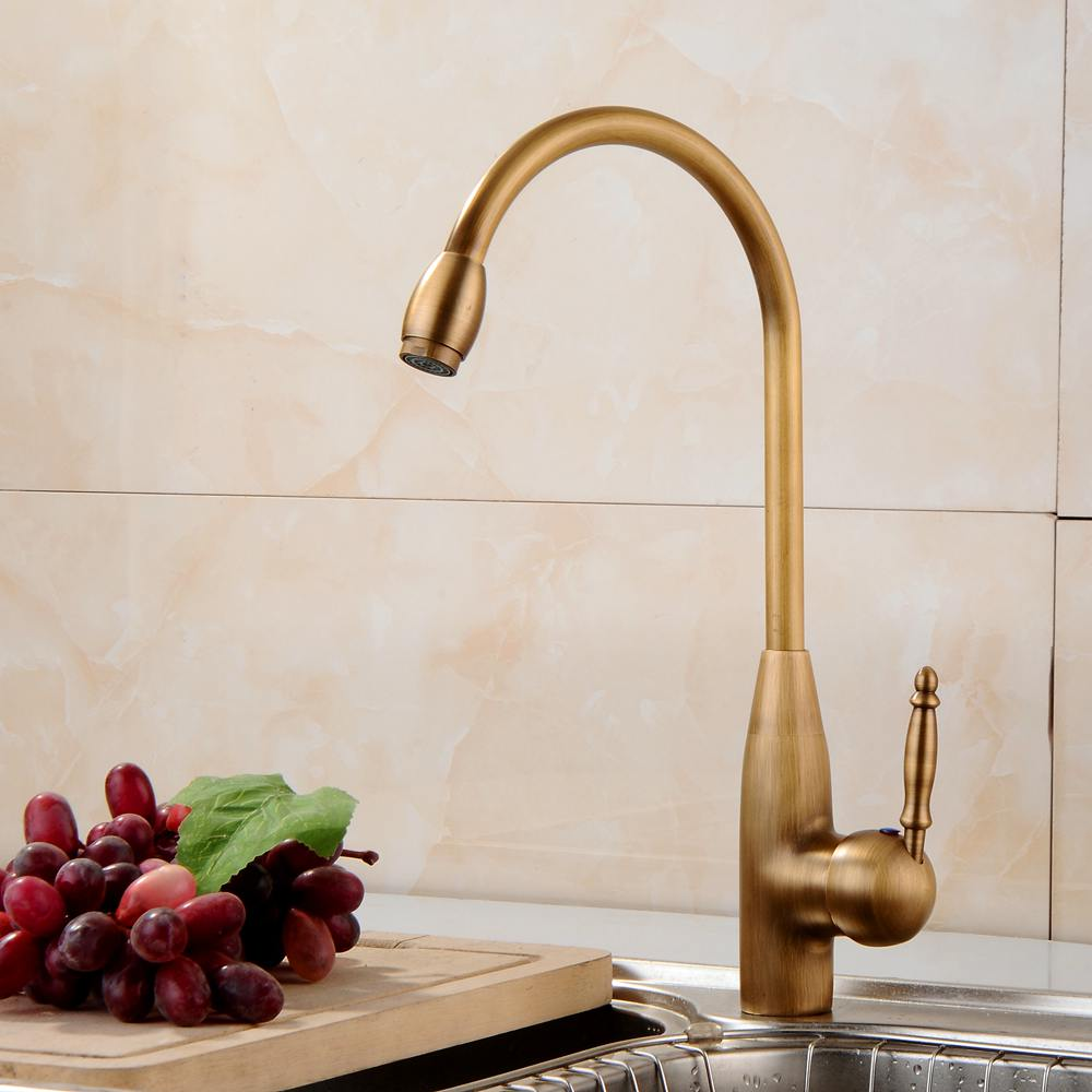Vidric Antique Brass Finish Kitchen Faucet Bronze Single Handle Hot And Cold Water Sink Tap 360 Swivel Bathroom Sink Mixer Taps