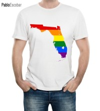 Gay Pride Rainbow Flag Florida Bendera Pria Fashion Pendek Lengan Camisetas Slim Fit & Tees Ramping(China)
